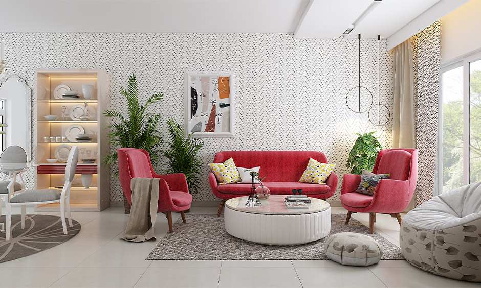 The sofa set in a bright pink colour in the urban style living room is a modern sofa designs for small living room