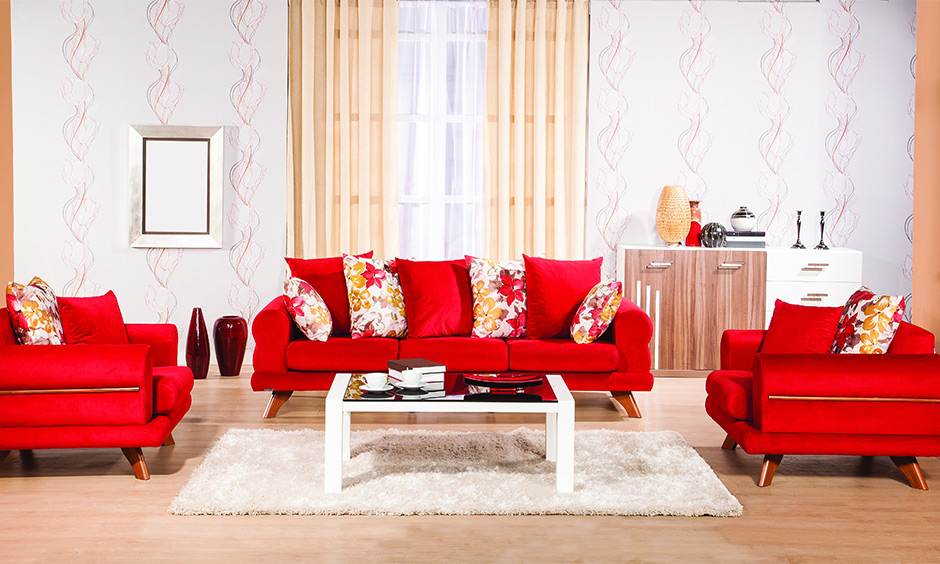 Red lawson sofa set with cushions is a great pick, and it is simple sofa set designs for small living room