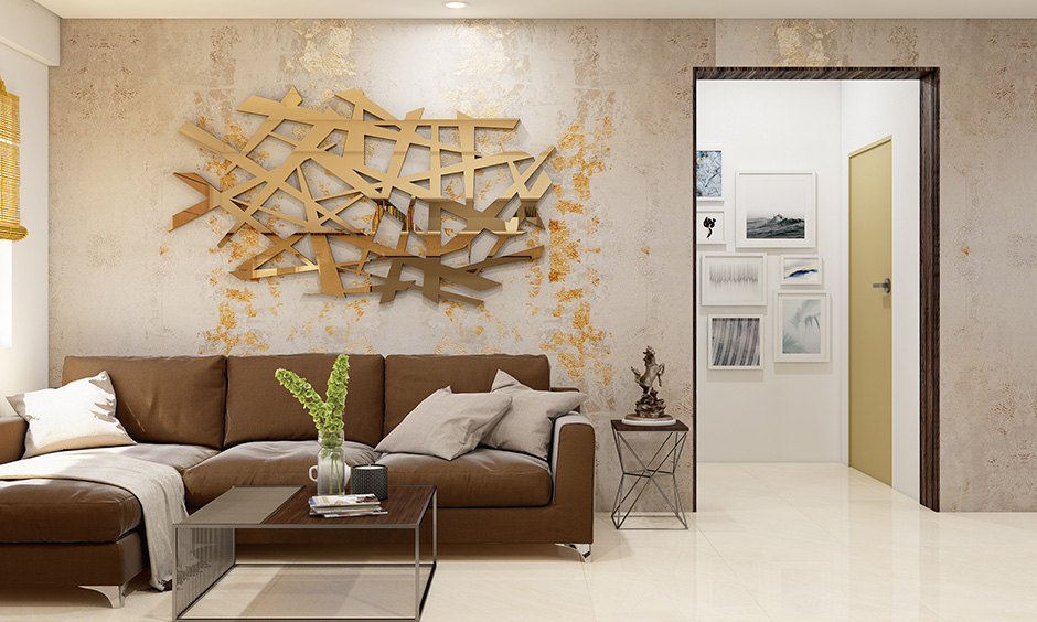 Living room accent wall 3d art in shades of gold and brown create a spectacular effect for the living room wall.