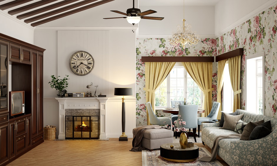 Traditional style living room with floral wallpaper highlights the corner of this living room accent wall cum dining area.