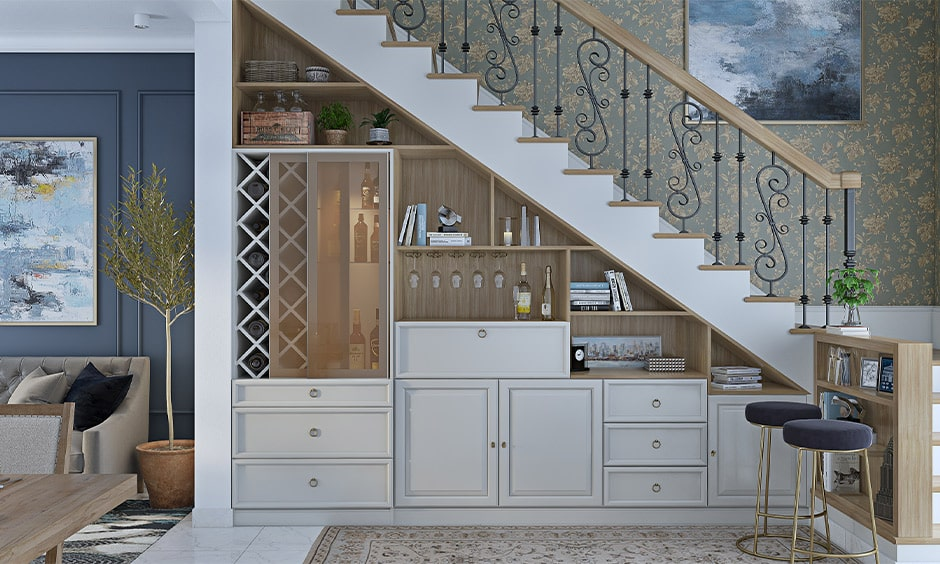 Space saving classic staircase design for small homes with a bar unit