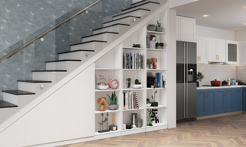 Space saving staircases for small homes with an open bookshelf for storage