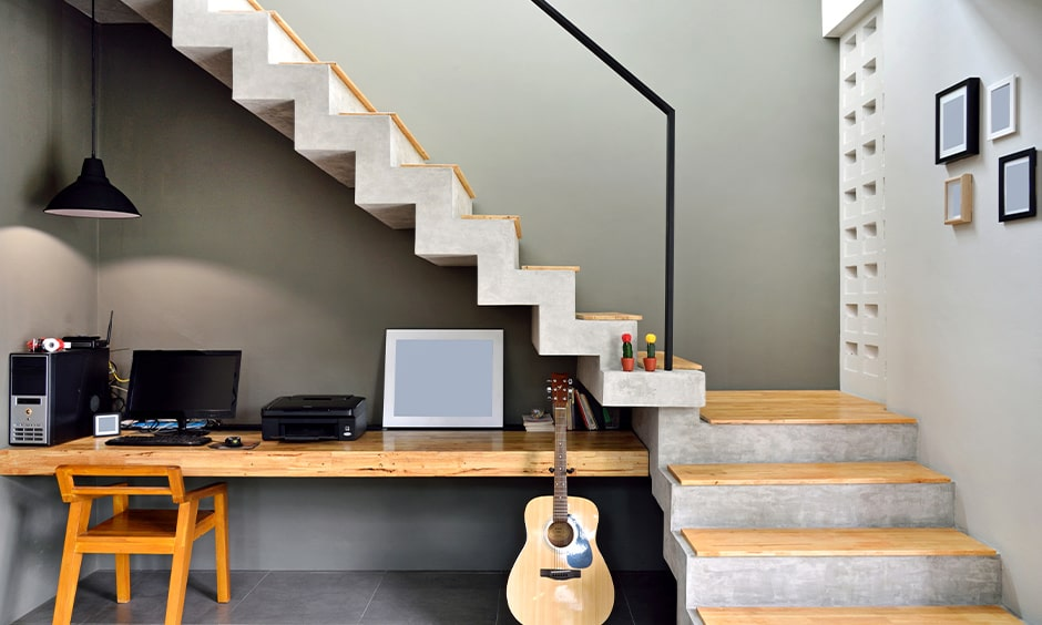 Minimalist corner staircase with study space or home office