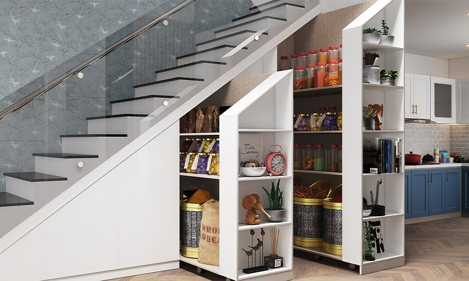 Space saving corner staircase design with a pull out pantry underneath