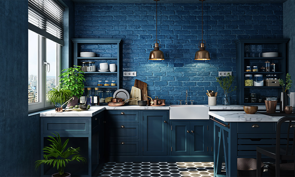 Blue themed kitchen corner wall shelf as primary storage works best for small kitchens.