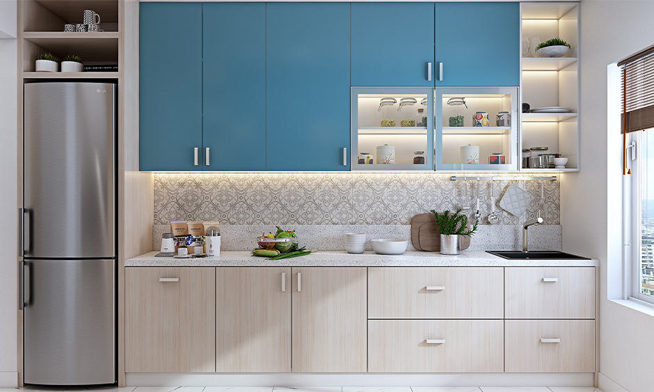 Open boxed wall shelves over the sink in this kitchen are chic and easy to access open shelf kitchen wall cabinet