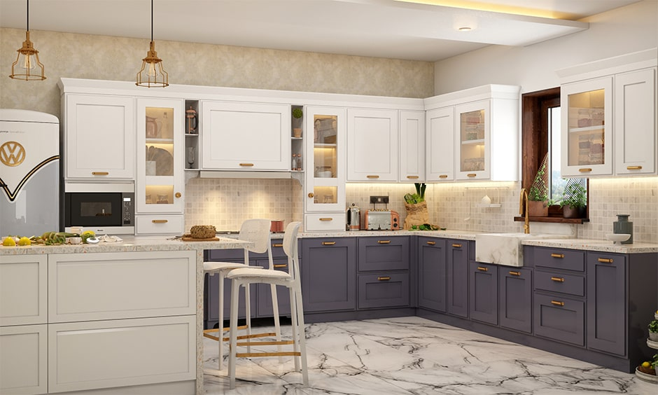Kitchen island breakfast bar ideas with couple of comfortable chairs, fix some pendant lights