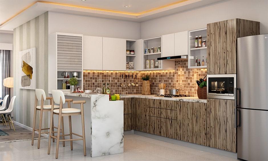Two tier breakfast countertop for kitchen counter breakfast bar