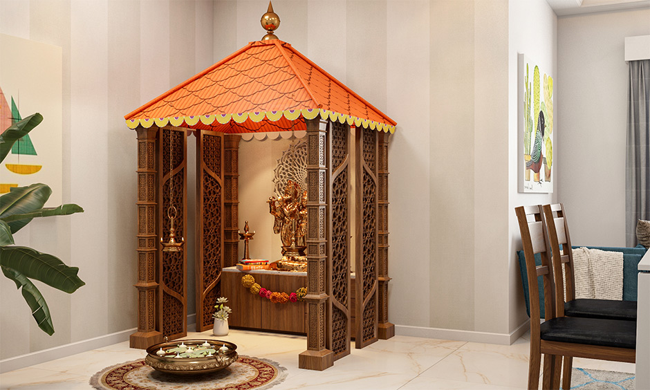 MDF Mandir jali design that is built from dark wood and has an intricate traditional design