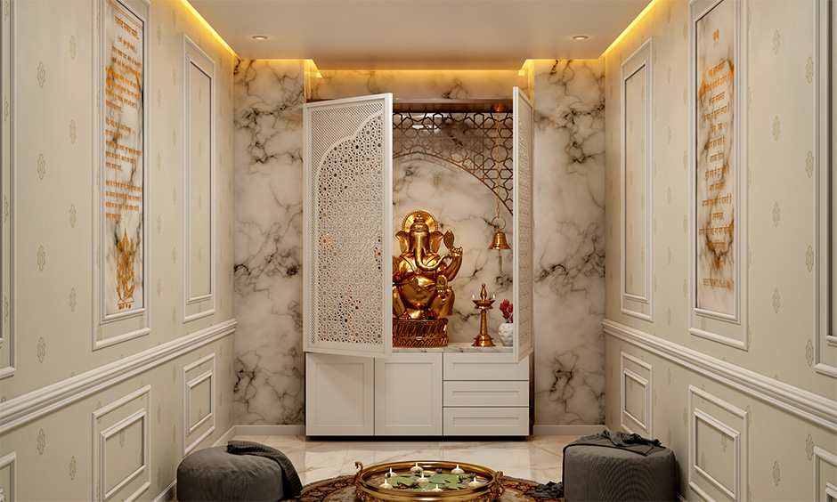 A classic jali design for temple with detailed work in white against a marble wall for mdf mandir jali design
