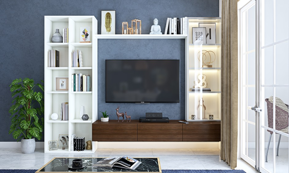 2bhk interior design for living room with a tv unit with open shelf storage in interior design of 2bhk