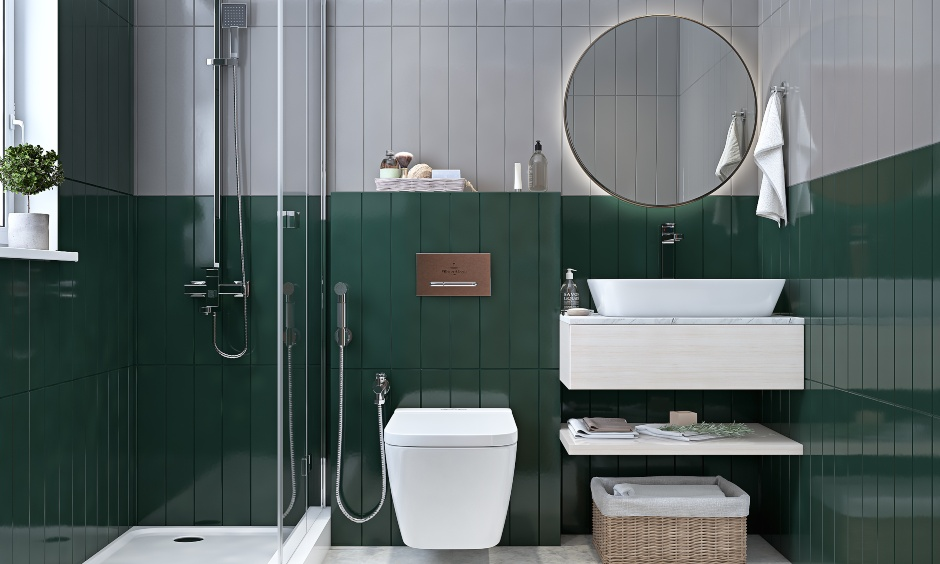 Modern 2bhk home bathroom design in blue and white colour is the interior design of 2bhk