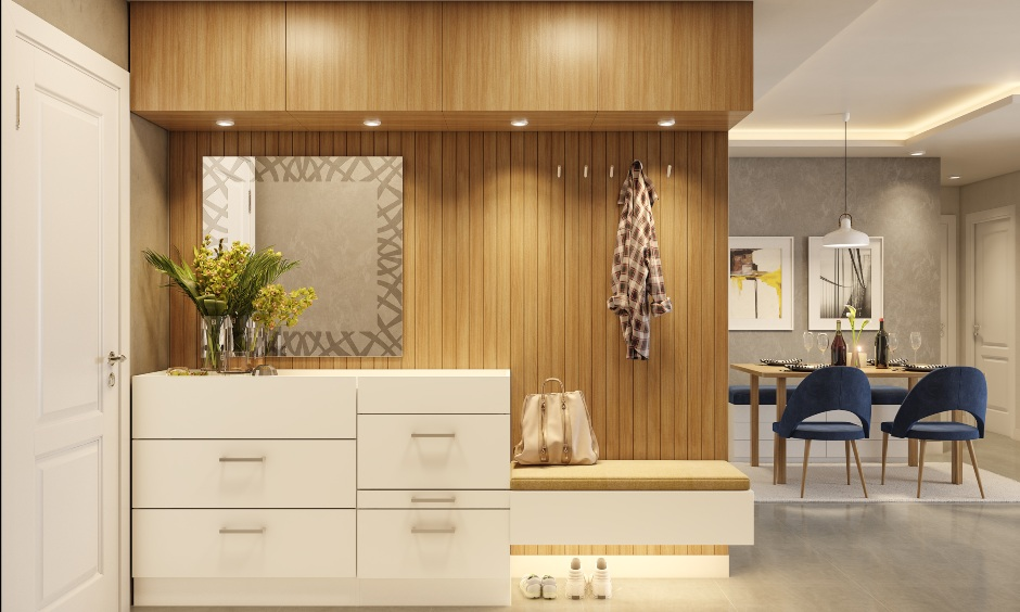Foyer design in 2bhk house apartment to make beautiful welcome 2bhk apartment design
