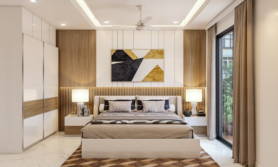 2 bhk apartment interior design for bedroom with luxury furniture's