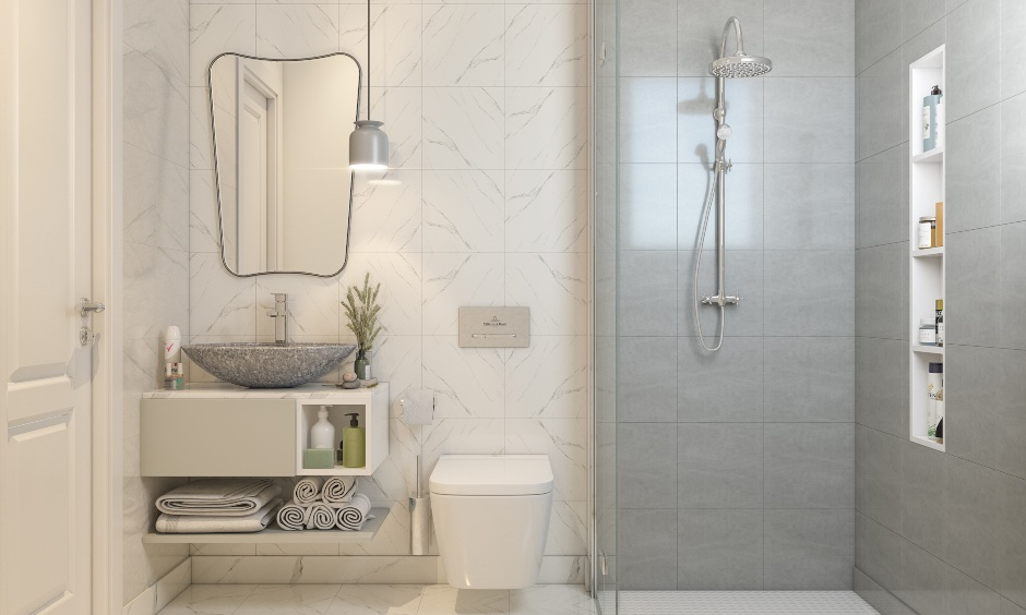 Modern bathroom interior design in 2bhk apartment house design