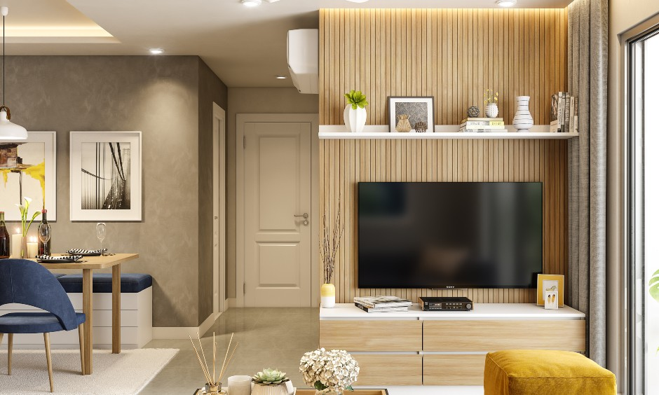 Modern living room designers for 2bhk apartment design in bangalore, mumbai and hyderabad