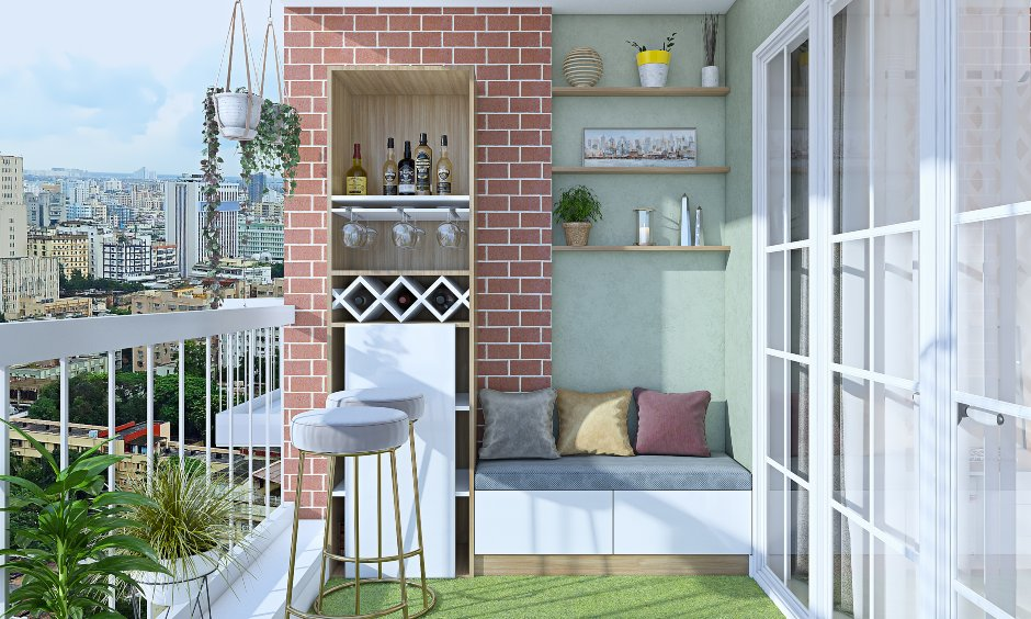 Balcony interior design for 2bhk flat house