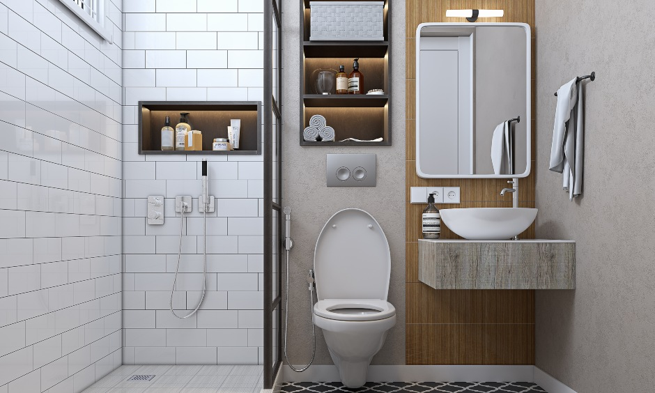 Bathroom interior in 2 bhk home design with space saving storage solutions