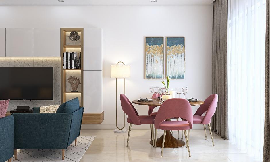 Living cum dining room design in 2bhk home