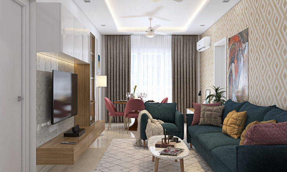 Modern rustic 2 bhk home design with smart space saving furniture in living room