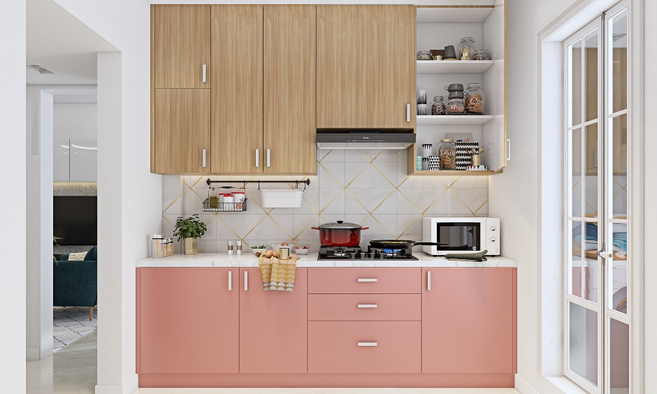 Modular kitchen design in 2bhk home with pink laminate for 2bhk home design