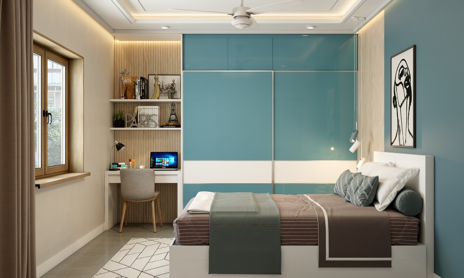 3bhk flat bedroom interior design by best interior designers in bangalore, mumbai and hyderabad