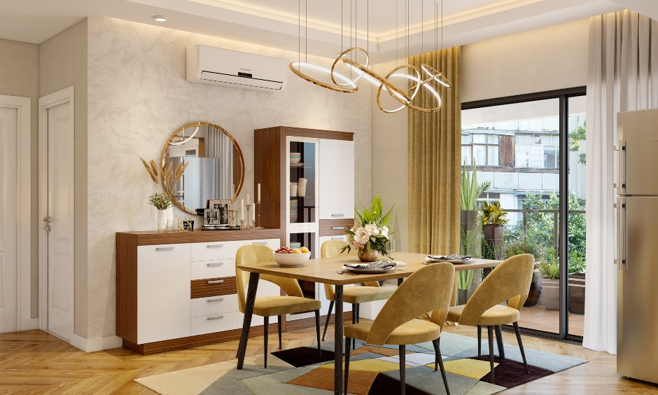Dining room design in 3 bhk flat interior design in india