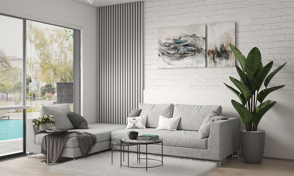 Corner grey colour l shaped sofa for small living room relaxed seating arrangement.