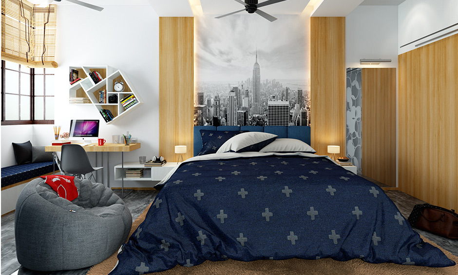 A boys bedroom with romantic bedroom decor which will leave you with a touch of the city