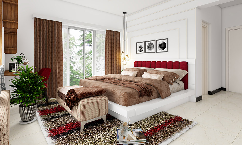 A romantic bedroom decor idea with indian wedding bedroom decoration with indoor plant for healthy living