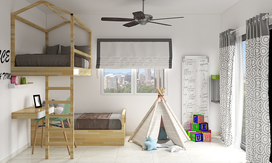 camping 365 days with bedroom decoration with bunk bed made of wood