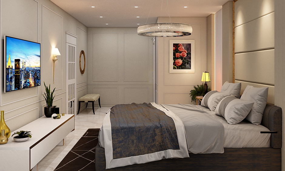Decor for a master bedroom with simple bedroom decor with a tv unit and has a lovely hollow crystal chandelier hanging