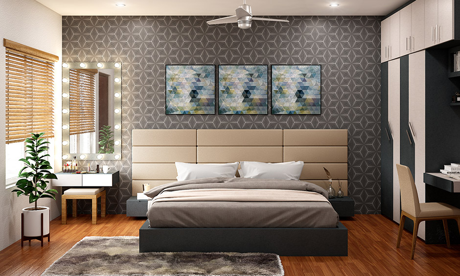 Its all in a wall decorative items for bedroom with wooden flooring and elegant mirror