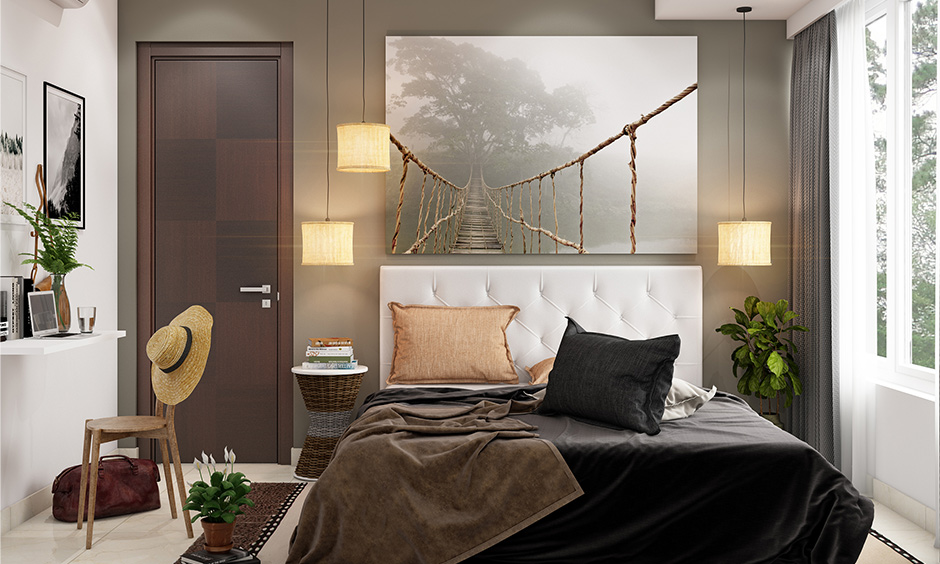 Modern bedroom decor with home decor bedroom with Cylindrical fabric pendant lights