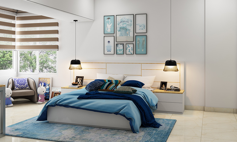 Time for a teenage bedroom with bedroom interior decoration who loves to read and adores the colour blue