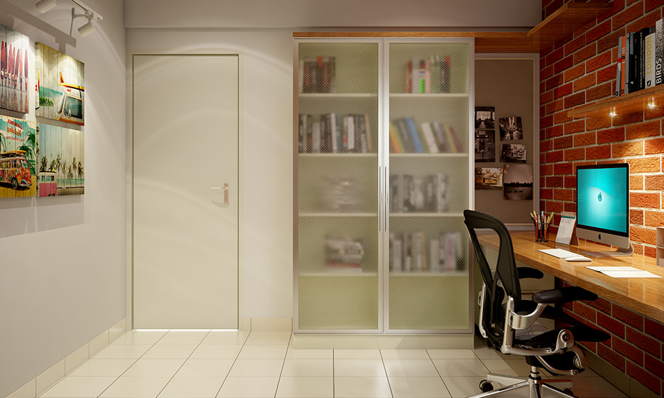 The modern bedroom has a wardrobe with a glass door but no wardrobe colour unique design.