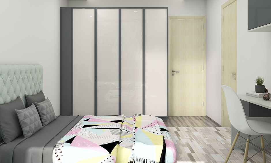 Master bedroom wardrobe colours in grey and white combination design.