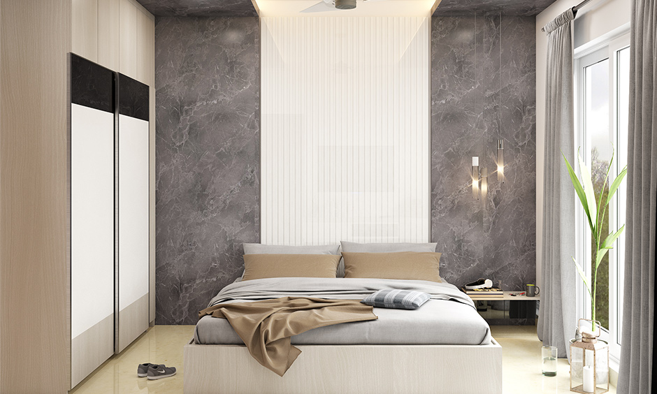 Wardrobe designed with the warmth of natural and neutral colours in the bedroom is sunmica colour for wardrobe.