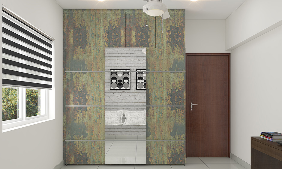 Rustic mix colour combination for wardrobe doors highlights the look in a natural way.