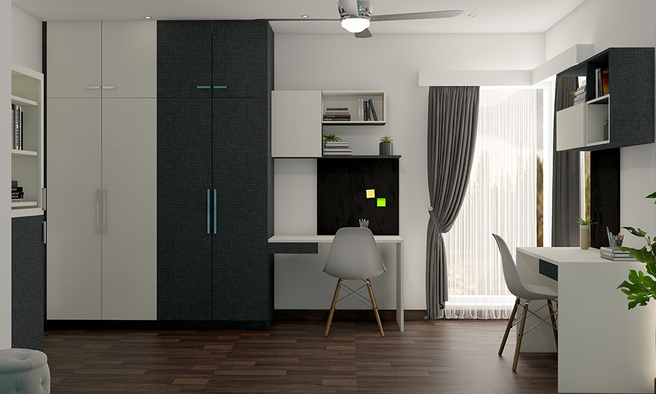 Inspiring two colour combination of wardrobe design for your home
