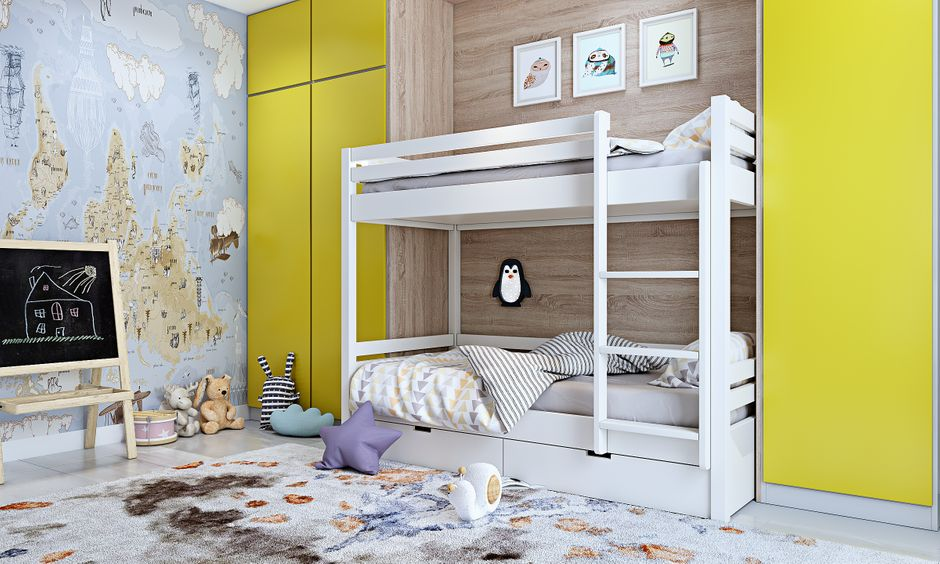 Bunk bed design for kids bedroom in modern 3bhk house design