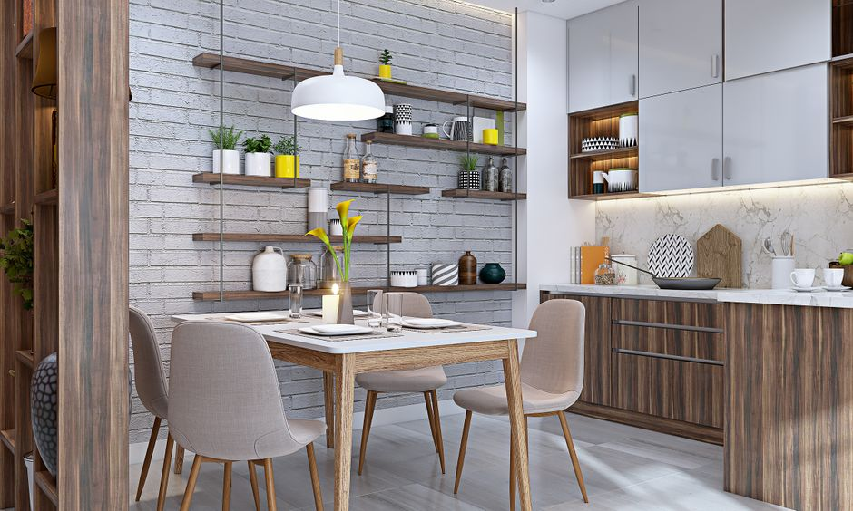 Dining room interior design for modern 3bhk flat in bangalore