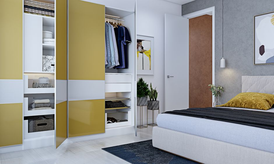 Scandinavian style 3 bhk flat interior design with wardrobe