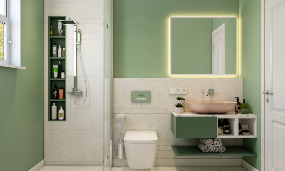 Minimalistic style bathroom design for 3 bhk design