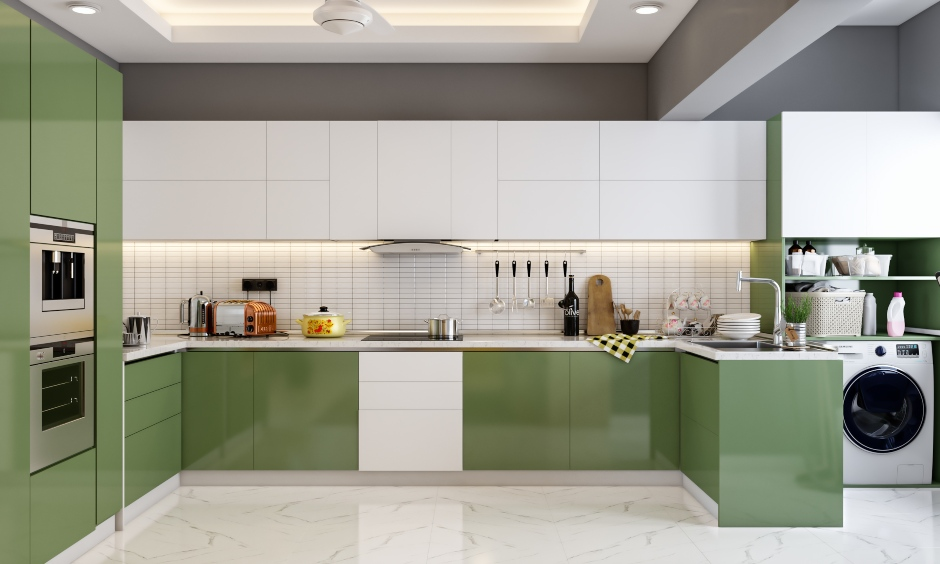 U shaped kitchen for cozy 3bhk house design