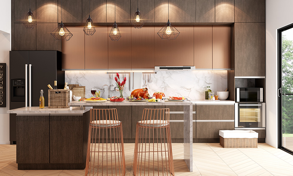 What colors match with brown with copper to o give your home interiors a modern and upscale look