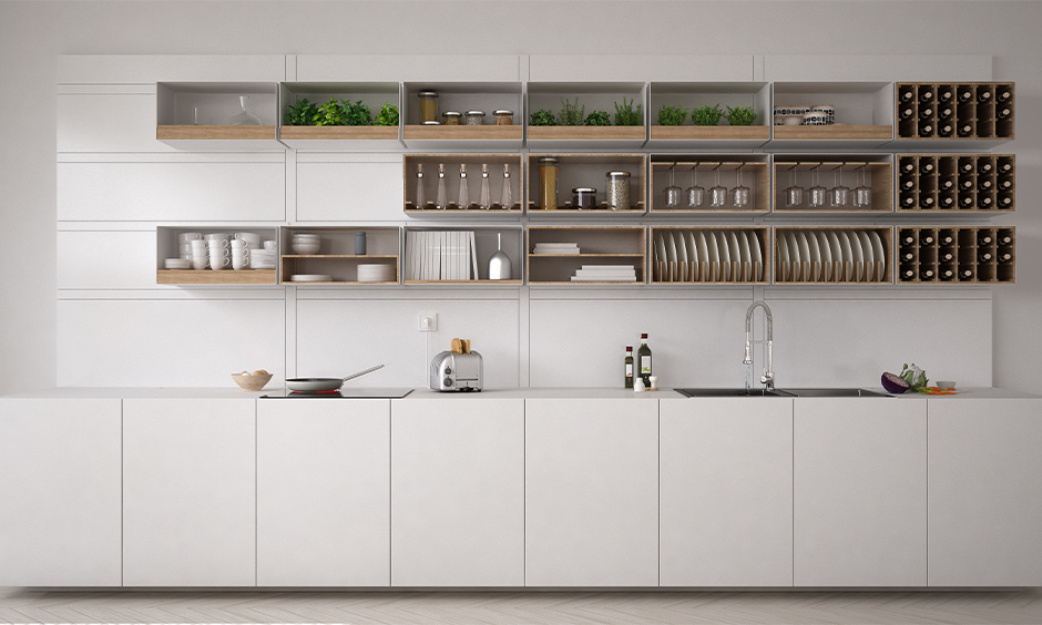 One wall white kitchen open shelves designed with shelves for optimum storage and a wine rack.
