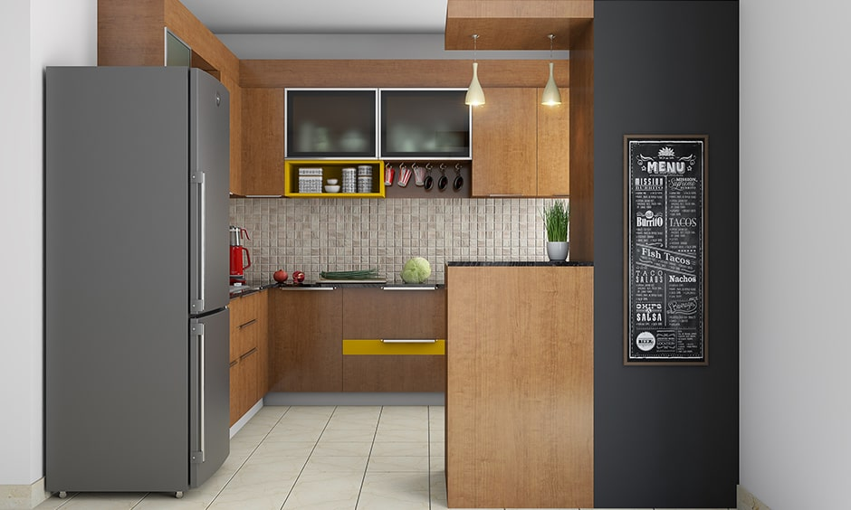 Modern kitchen partition design with a seamless deck of wood and wallpaper