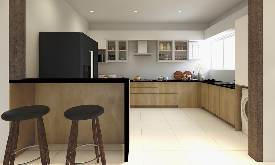 Simple kitchen partition design with simple, wooden framed countertop