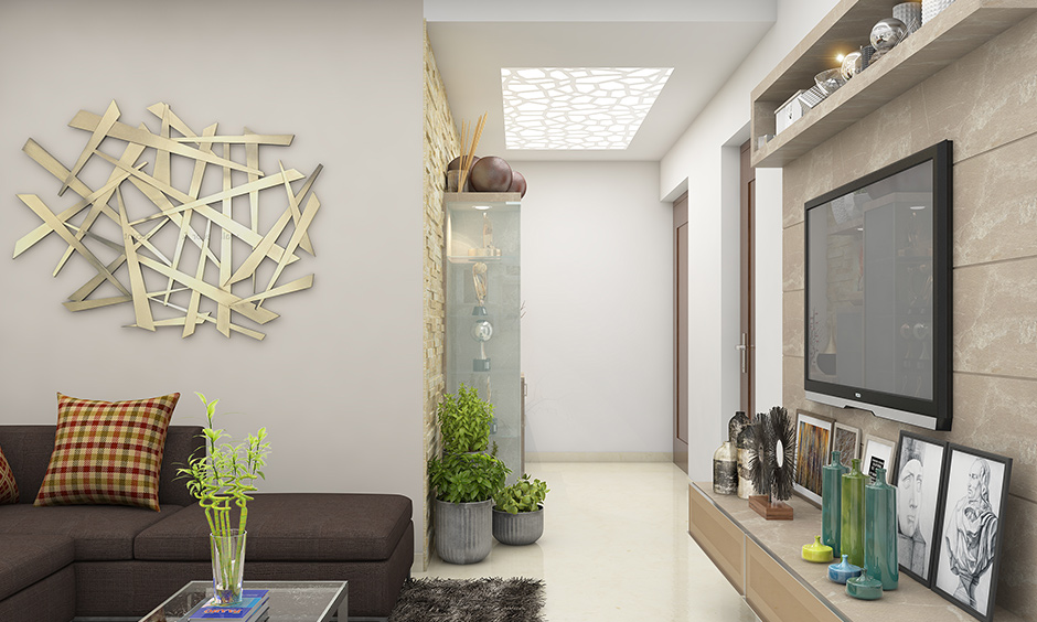 Back-lit ceiling lights for living room India to create an ambience that soft and glowing natural light would provide.